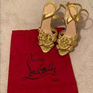 Christian Louboutin gold stilettos, size 36
